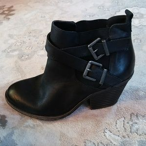 Sole Society Black Leather Buckle Booties
